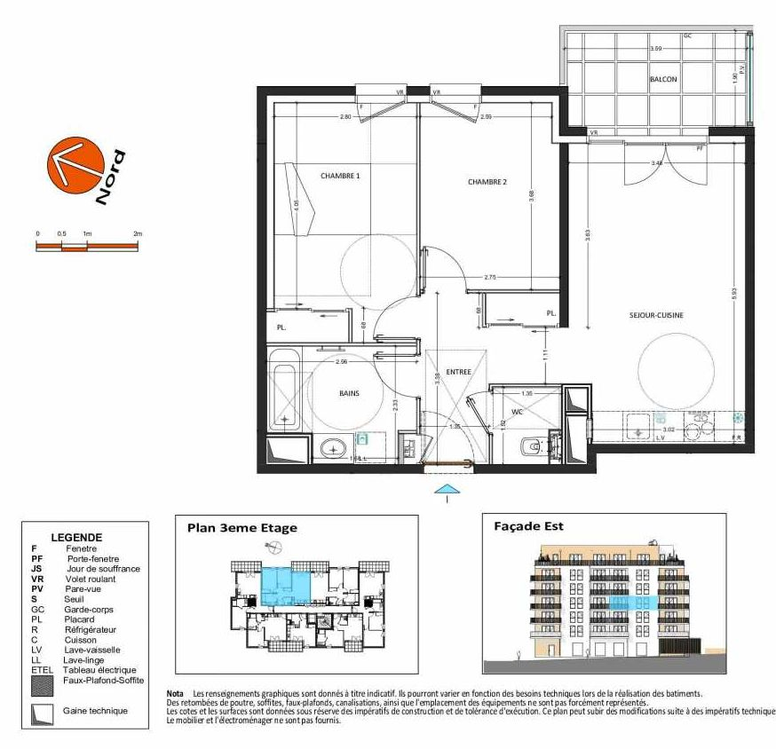 Plan B.134, appartement neuf type T3 au 3ème étage, orienté Ouest faisant 58m² du programme neuf Grand Angle à Annecy.