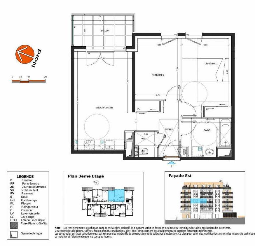 Plan B.135, appartement neuf type T3 au 3ème étage, orienté Ouest faisant 58m² du programme neuf Grand Angle à Annecy.