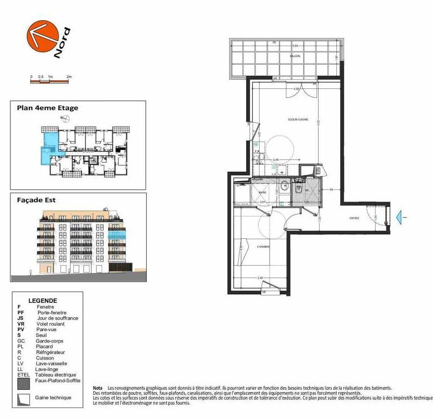 Plan B.143, appartement neuf type T2 au 4ème étage, orienté Ouest faisant 49m² du programme neuf Grand Angle à Annecy.