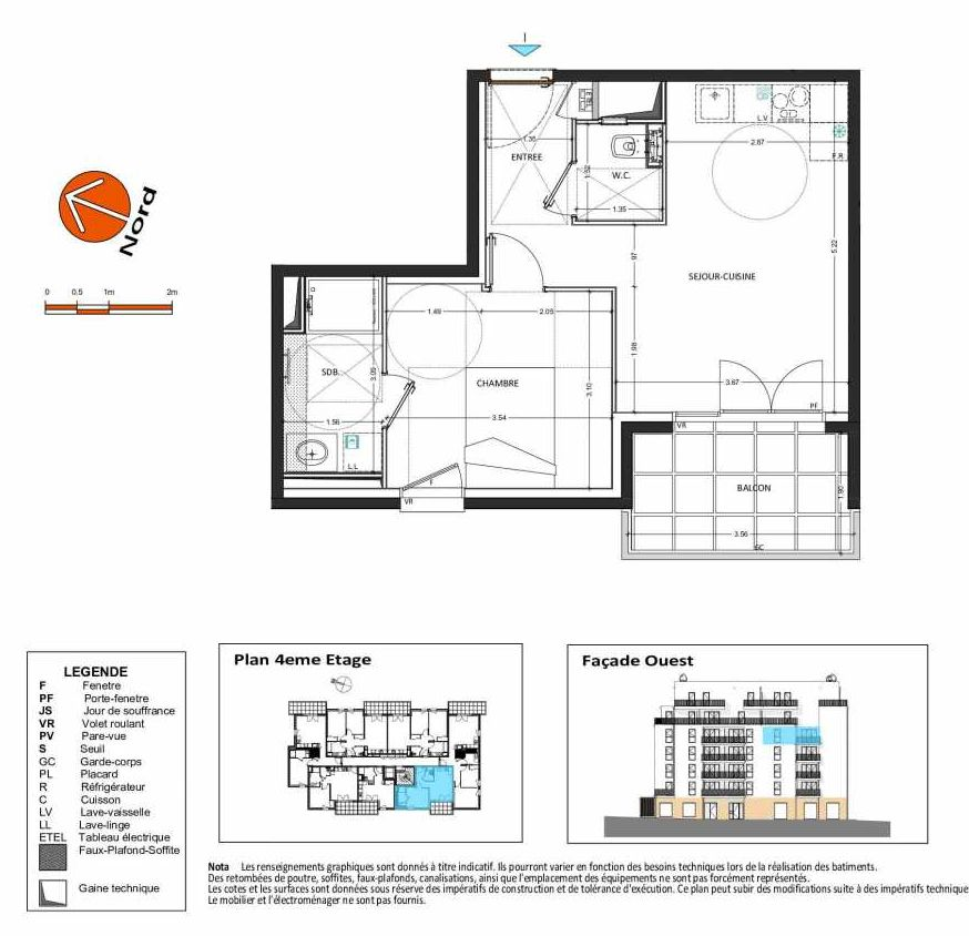 Plan B.147, appartement neuf type T2 au 4ème étage, orienté Ouest faisant 40m² du programme neuf Grand Angle à Annecy.