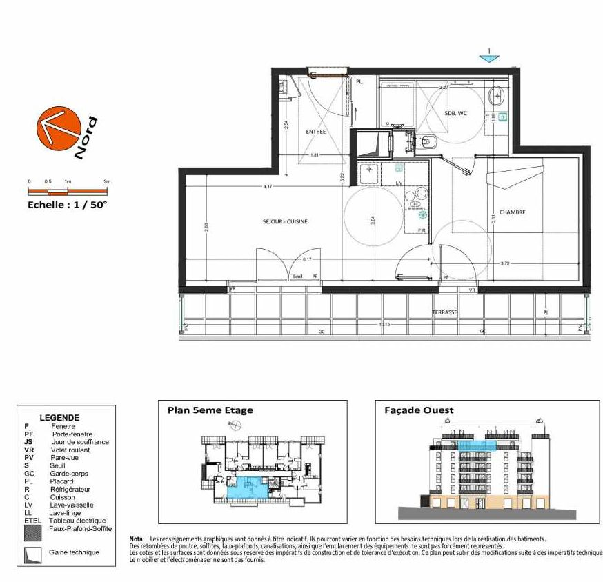 Plan B.151, appartement neuf, orienté Ouest faisant 39m² du programme neuf Grand Angle à Annecy.