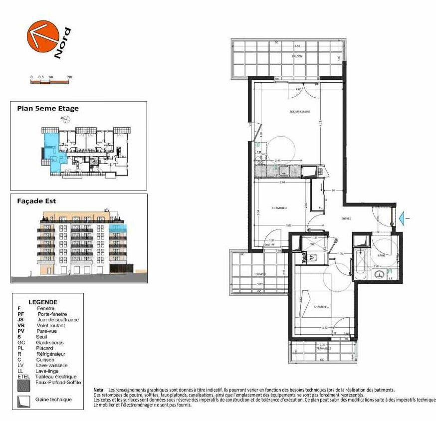 Plan B.152, appartement neuf type T3 au 5ème étage, orienté Ouest faisant 60m² du programme neuf Grand Angle à Annecy.