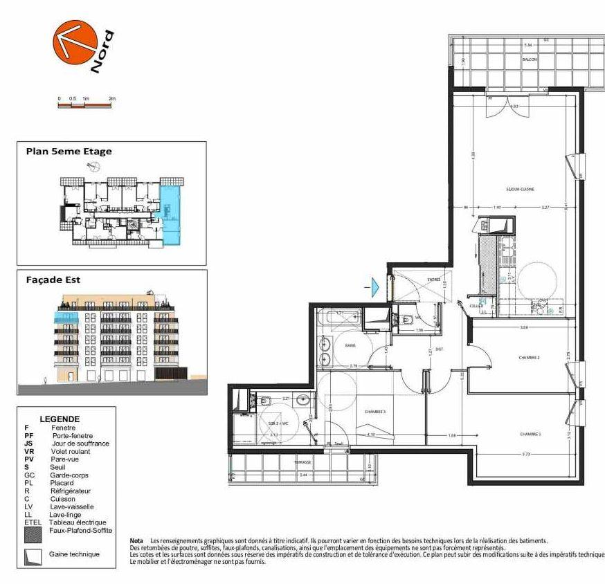 Plan B.155, appartement neuf type T4 au 5ème étage, orienté Sud faisant 99m² du programme neuf Grand Angle à Annecy.