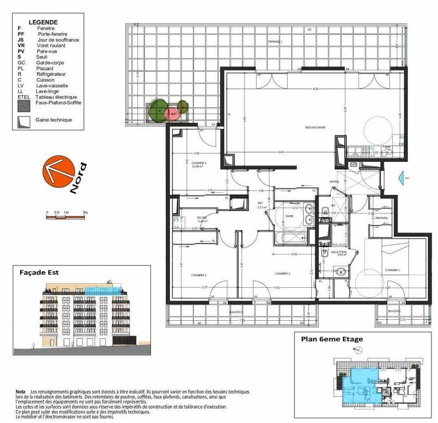 Plan B.161, appartement neuf, orienté Ouest faisant 123m² du programme neuf Grand Angle à Annecy.