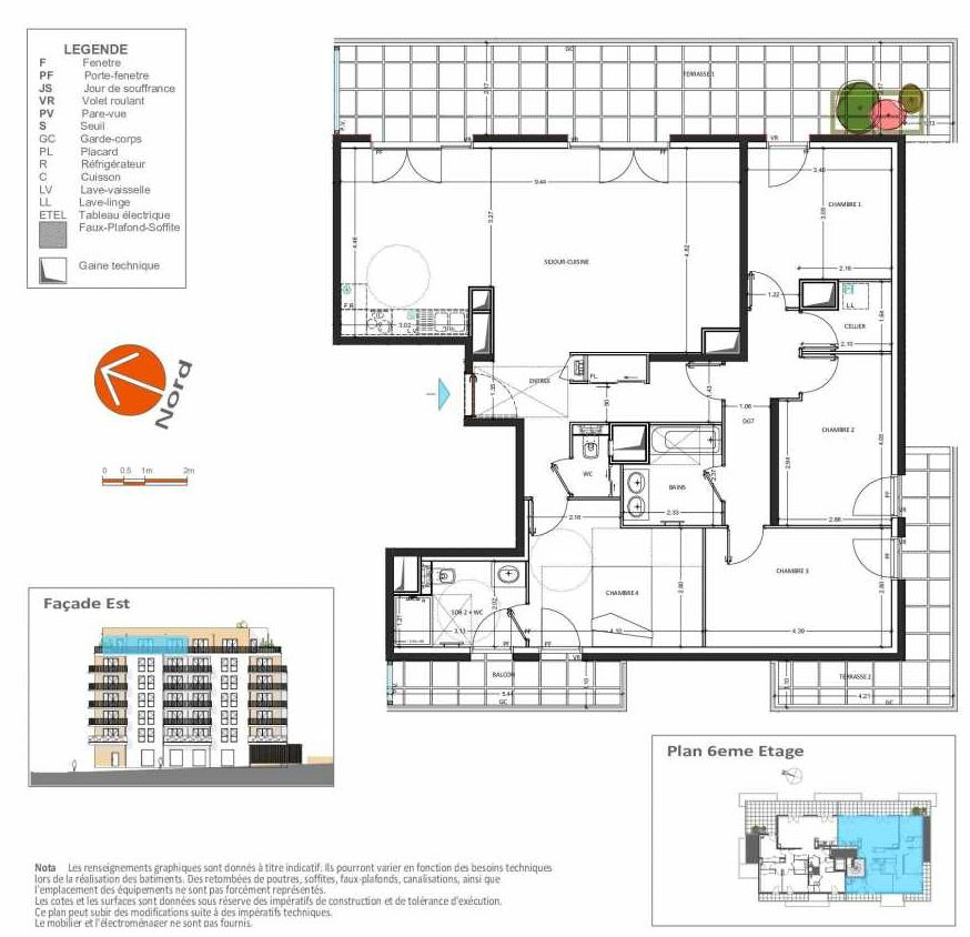 Plan B.162, appartement neuf, orienté Sud faisant 121m² du programme neuf Grand Angle à Annecy.