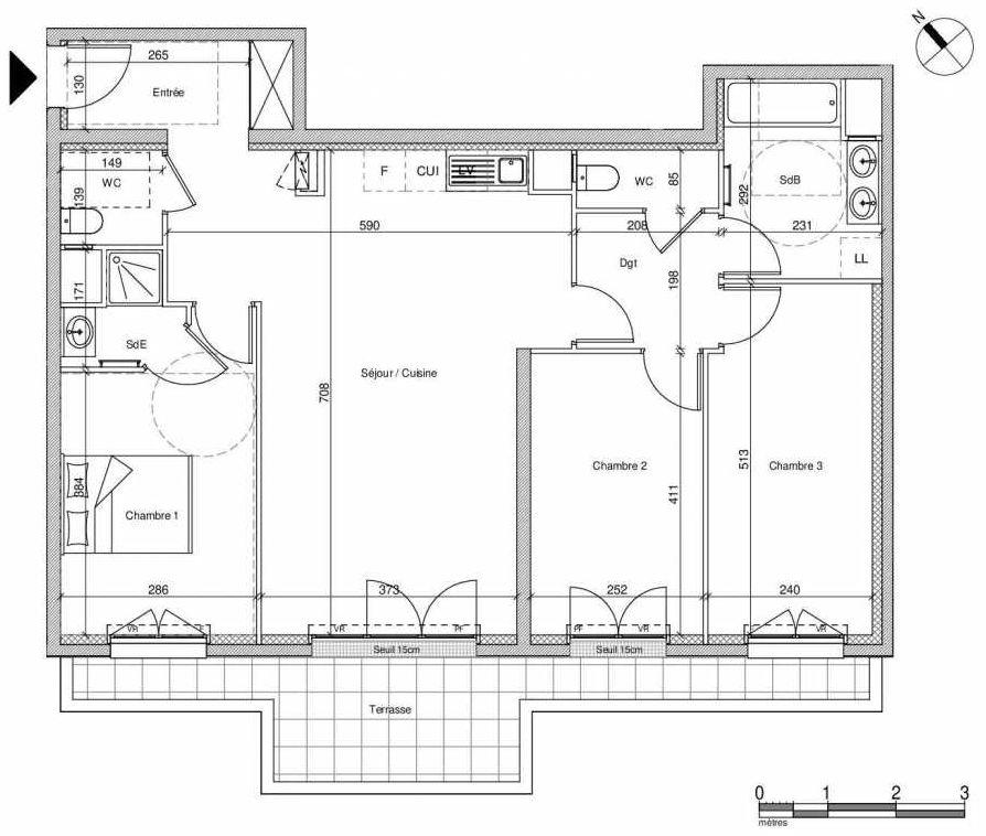 Plan B001, appartement neuf type T4 au Rez de chaussée, faisant 86m² du programme neuf 12 Liberty à Chennevières-sur-Marne.