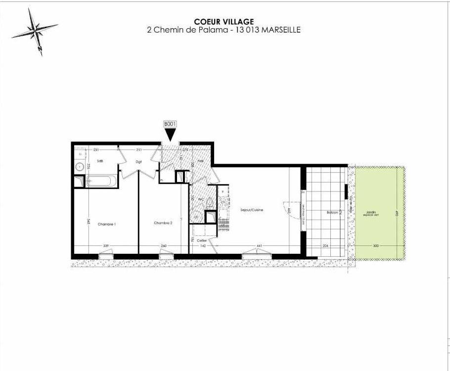 Plan B001, appartement neuf type T3 au Rez de chaussée, orienté Ouest faisant 61m² du programme neuf Coeur Village à Marseille.