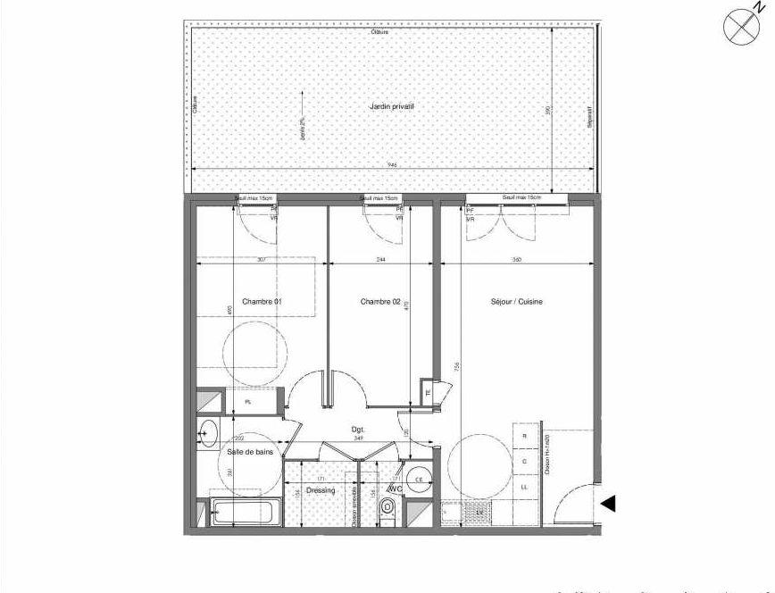 Plan B001, appartement neuf type T3 au Rez de chaussée, orienté Ouest faisant 67m² du programme neuf Impulsion à Marseille.