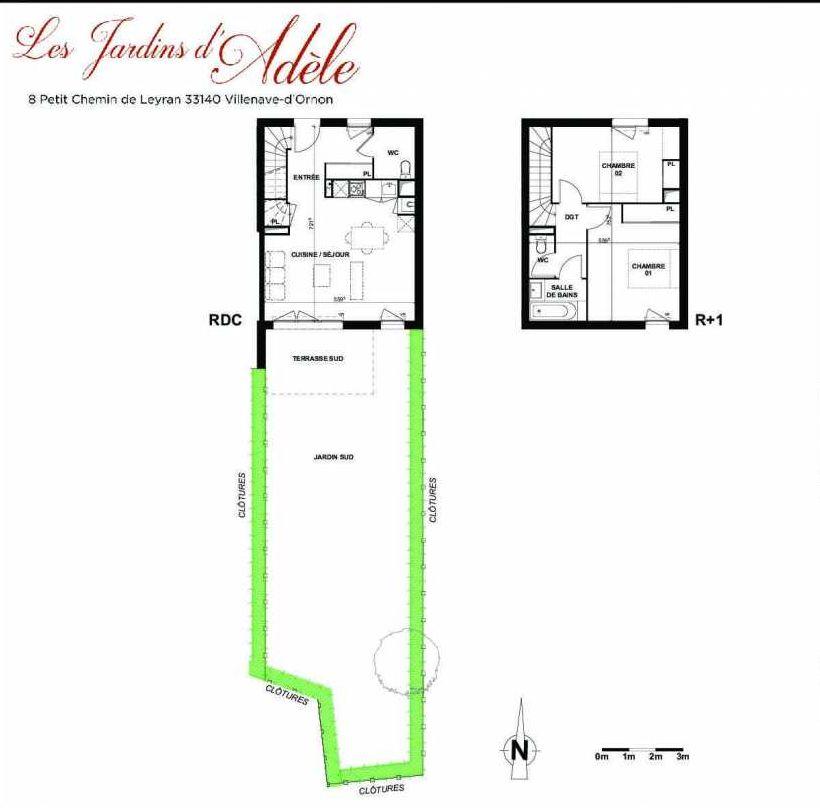 Plan B001, appartement neuf type T3 au Rez de chaussée, orienté Sud faisant 72m² du programme neuf Les Jardins d'Adèle à Villenave-d'Ornon.
