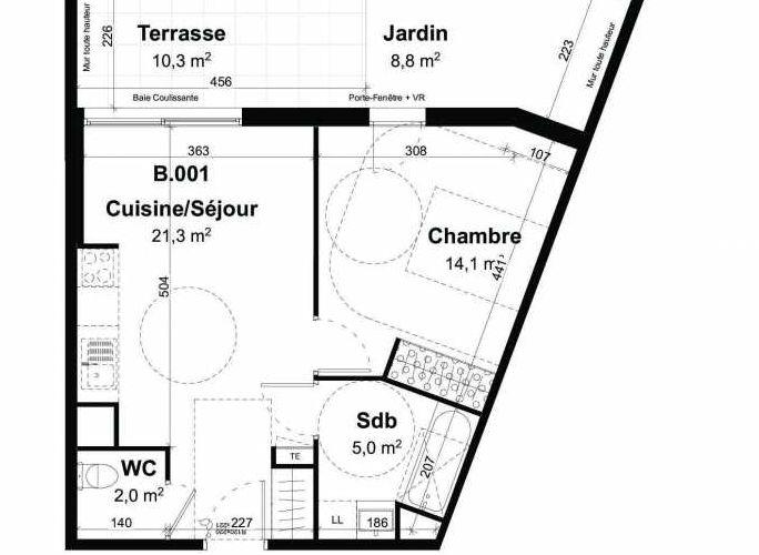 Plan recadré du lot neuf du programme neuf Les jardins de l'Empereur