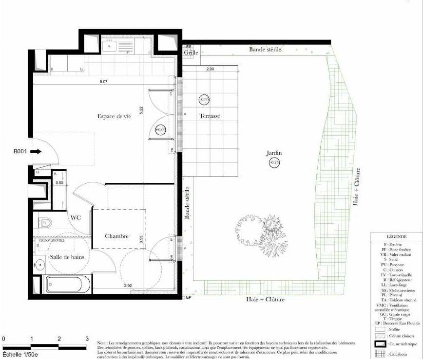 Plan B001, appartement neuf type T2 au Rez de chaussée, orienté Nord faisant 42m² du programme neuf Symbiose à Bezons.