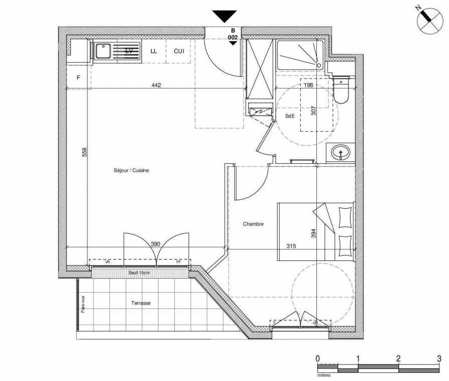 Plan B002, appartement neuf type T2 au Rez de chaussée, faisant 42m² du programme neuf 12 Liberty à Chennevières-sur-Marne.