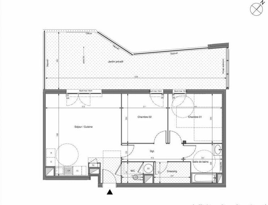 Plan B002, appartement neuf type T3 au Rez de chaussée, orienté Ouest faisant 68m² du programme neuf Impulsion à Marseille.