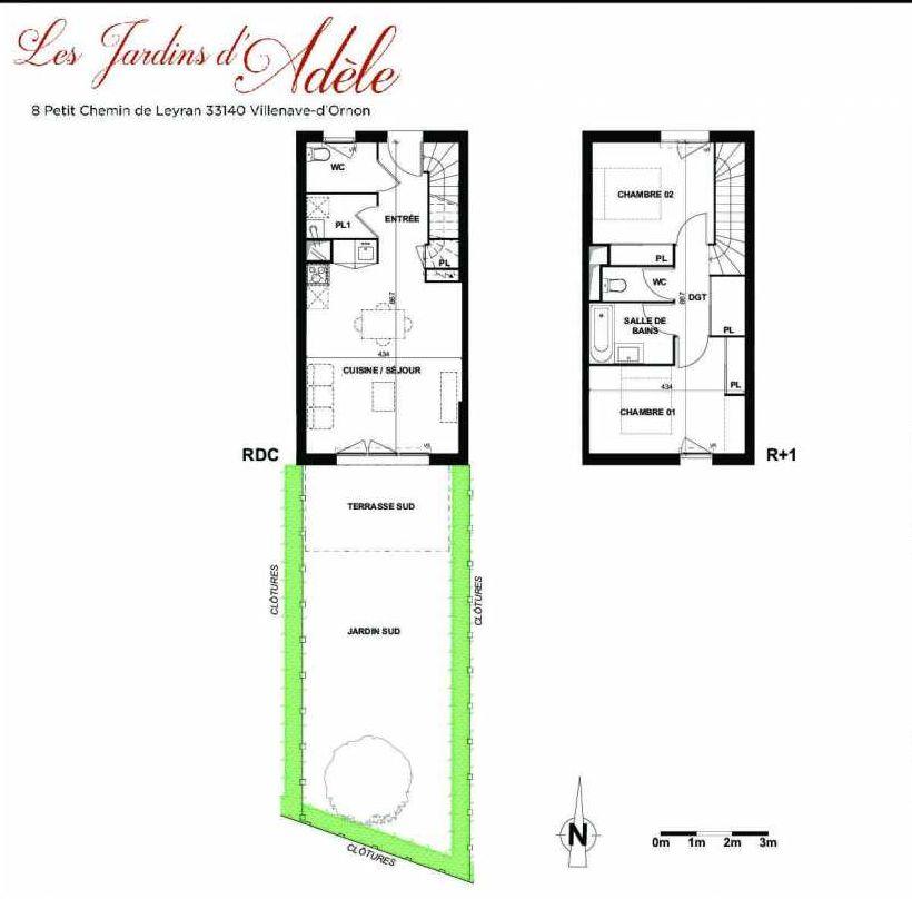 Plan B002, appartement neuf type T3 au Rez de chaussée, orienté Sud faisant 66m² du programme neuf Les Jardins d'Adèle à Villenave-d'Ornon.