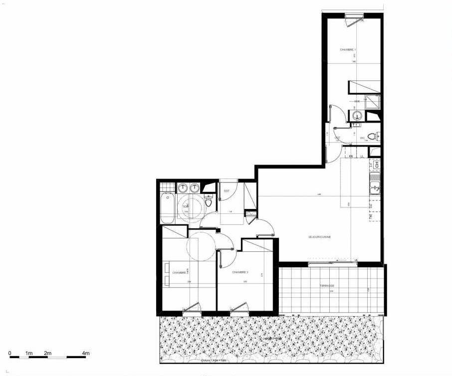 Plan B002, appartement neuf type T4 au Rez de chaussée, orienté Sud faisant 86m² du programme neuf PETRA à Saint-Jean-de-Védas.