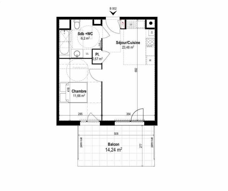 Plan B002, appartement neuf type T2 au Rez de chaussée, orienté Sud faisant 42m² du programme neuf SUNLODGE à Brignais.