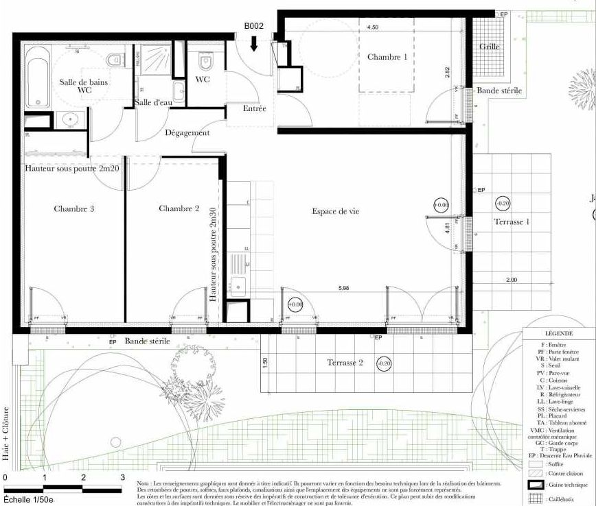 Plan B002, appartement neuf type T4 au Rez de chaussée, orienté Est faisant 79m² du programme neuf Symbiose à Bezons.
