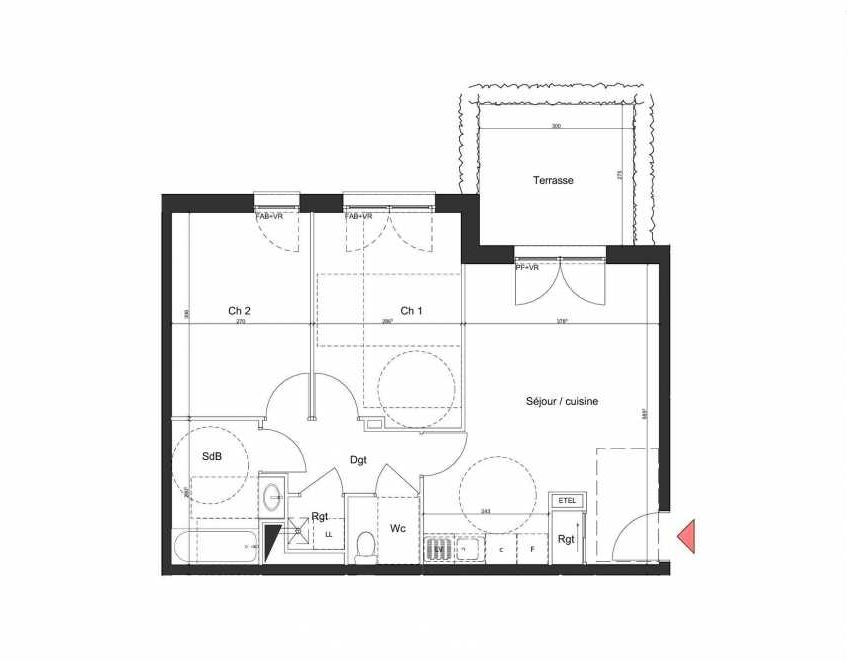 Plan B002, appartement neuf, orienté Nord faisant 58m² du programme neuf Villa Bihorel à Bihorel.