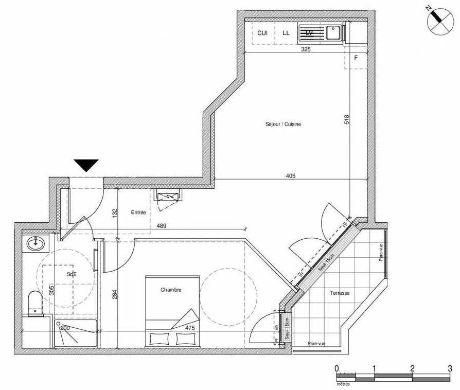 Plan B003, appartement neuf type T2 au Rez de chaussée, faisant 45m² du programme neuf 12 Liberty à Chennevières-sur-Marne.