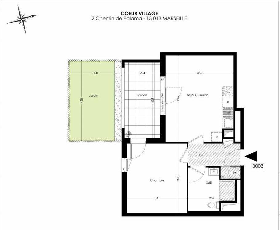 Plan B003, appartement neuf type T2 au Rez de chaussée, orienté Sud faisant 42m² du programme neuf Coeur Village à Marseille.