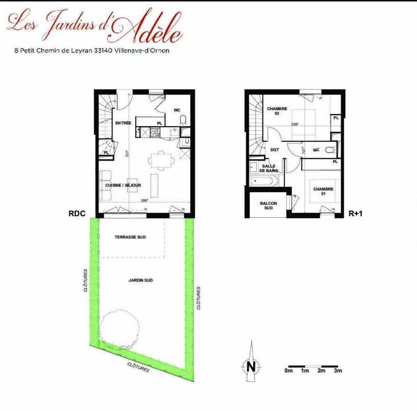 Plan B003, appartement neuf type T3 au Rez de chaussée, orienté Sud faisant 68m² du programme neuf Les Jardins d'Adèle à Villenave-d'Ornon.
