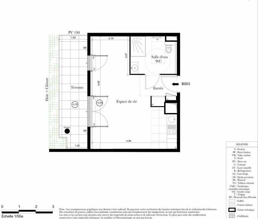 Plan B003, appartement neuf, orienté Sud faisant 32m² du programme neuf Symbiose à Bezons.