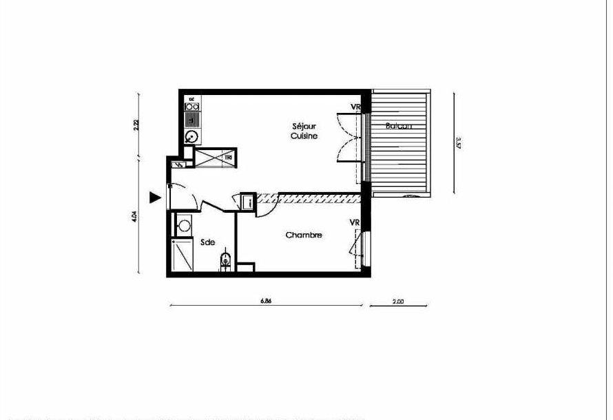 Plan B003, appartement neuf type T2 au Rez de chaussée, faisant 42m² du programme neuf TOSCANI SIENNE à Saint-Orens-de-Gameville.