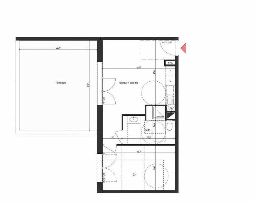 Plan B003, appartement neuf, orienté Nord faisant 41m² du programme neuf Villa Bihorel à Bihorel.