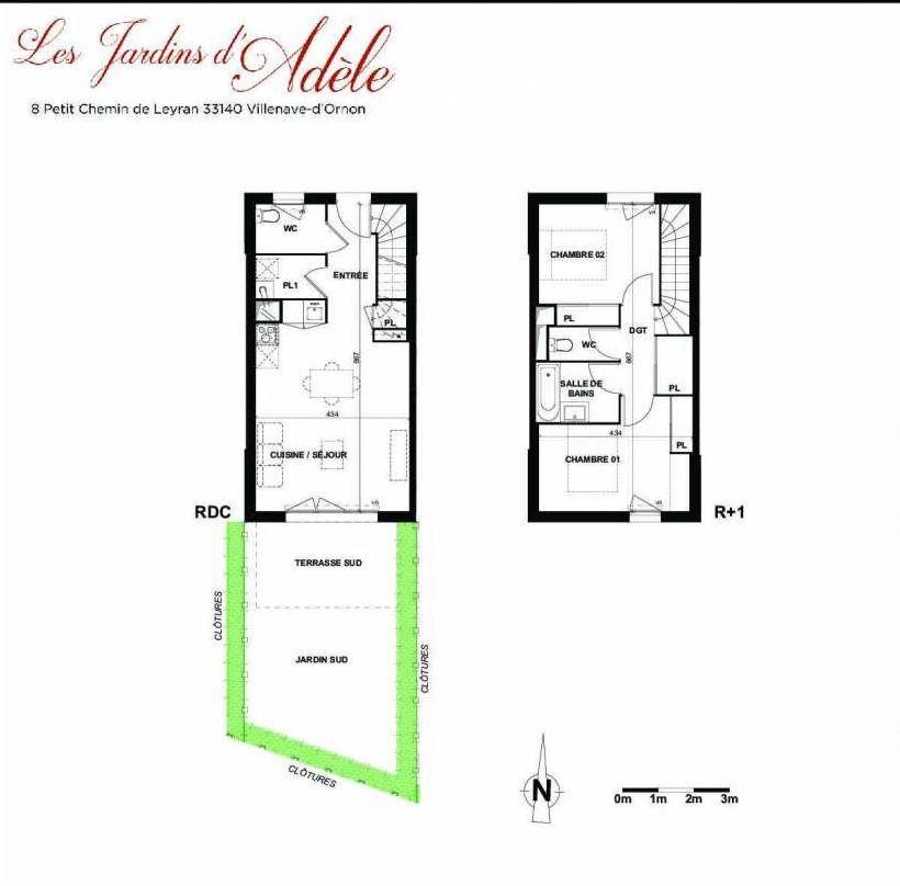 Plan B004, appartement neuf type T3 au Rez de chaussée, orienté Sud faisant 66m² du programme neuf Les Jardins d'Adèle à Villenave-d'Ornon.