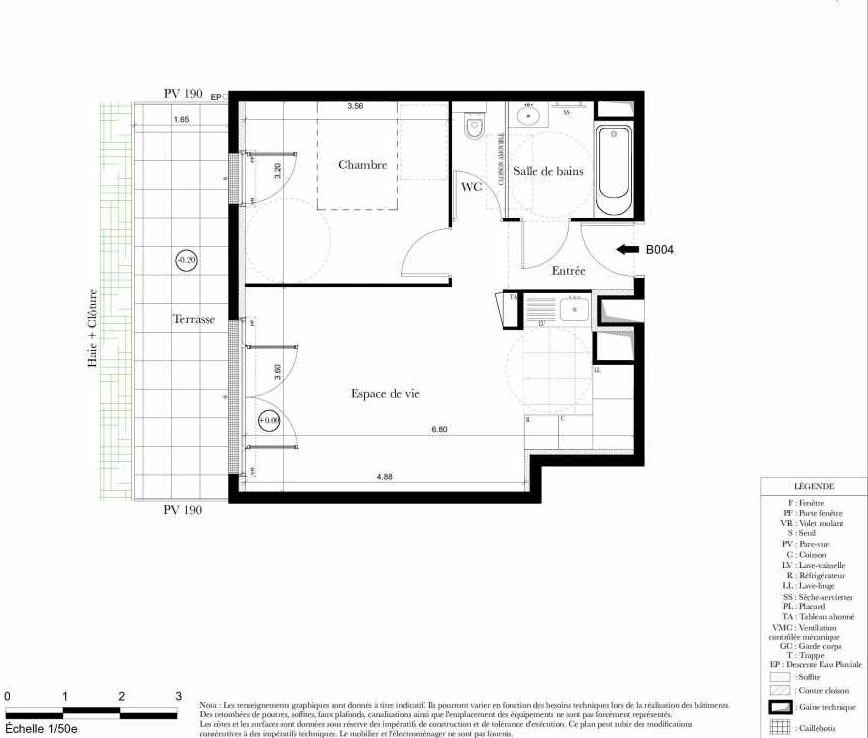 Plan B004, appartement neuf, orienté Sud faisant 42m² du programme neuf Symbiose à Bezons.