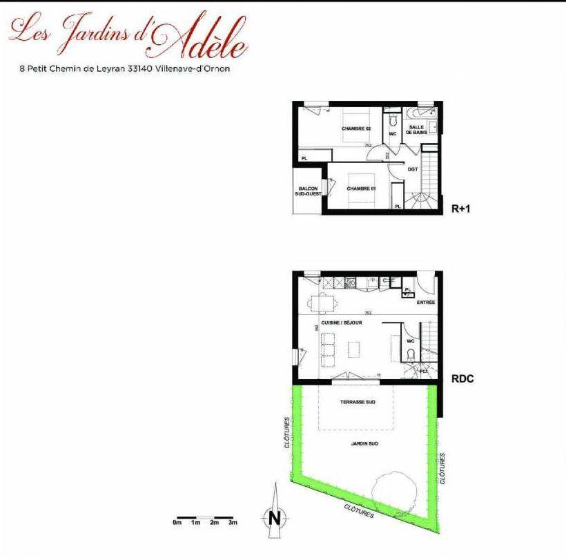 Plan B005, appartement neuf type T3 au Rez de chaussée, orienté Sud faisant 70m² du programme neuf Les Jardins d'Adèle à Villenave-d'Ornon.