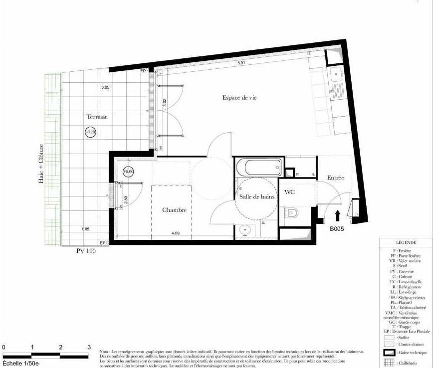 Plan B005, appartement neuf, orienté Sud faisant 44m² du programme neuf Symbiose à Bezons.