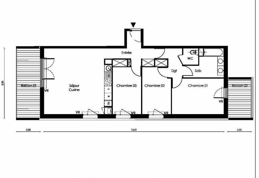 Plan B005, appartement neuf type T4 au Rez de chaussée, faisant 85m² du programme neuf TOSCANI SIENNE à Saint-Orens-de-Gameville.