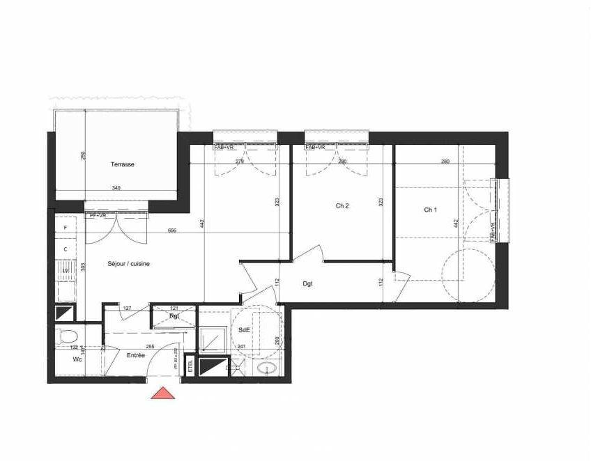 Plan B005, appartement neuf, orienté Nord faisant 58m² du programme neuf Villa Bihorel à Bihorel.
