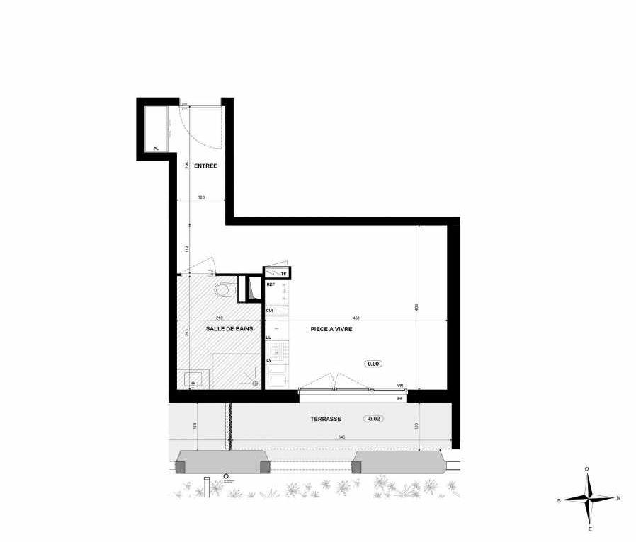 Plan B006, appartement neuf type T1 au Rez de chaussée, orienté Est faisant 30m² du programme neuf Halle 12 à Dijon.