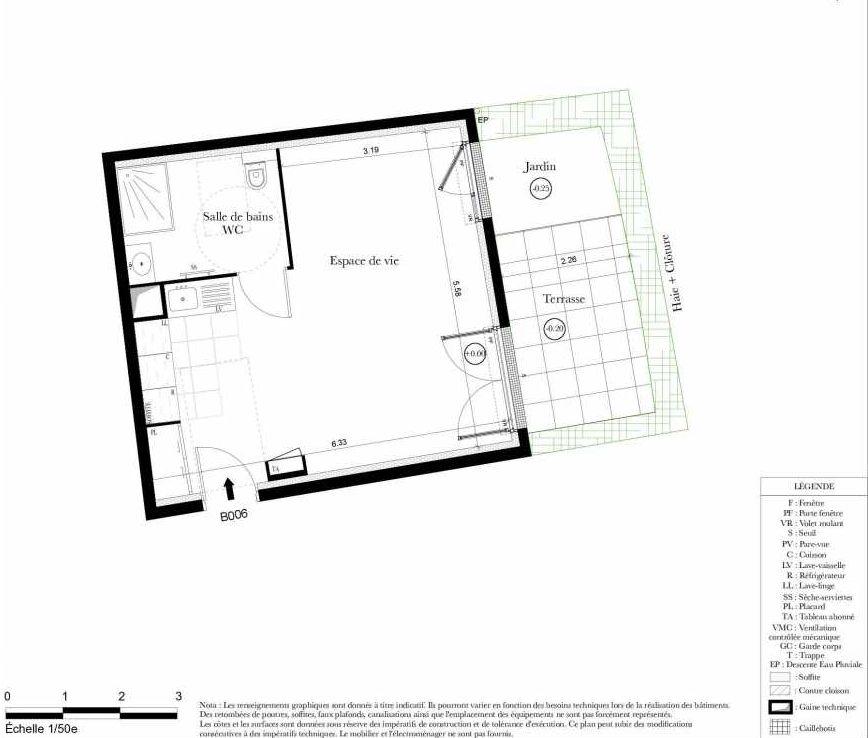 Plan B006, appartement neuf, orienté Ouest faisant 35m² du programme neuf Symbiose à Bezons.