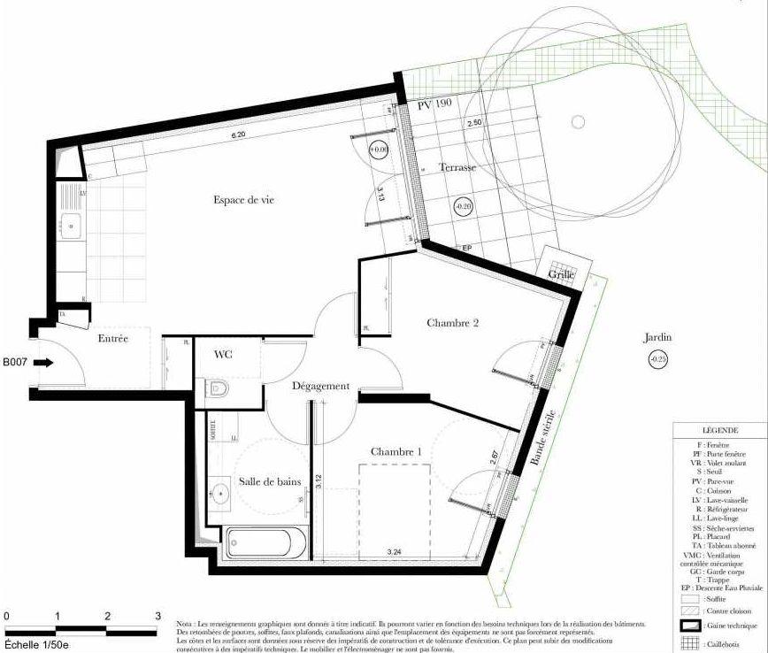 Plan B007, appartement neuf, orienté Ouest faisant 61m² du programme neuf Symbiose à Bezons.
