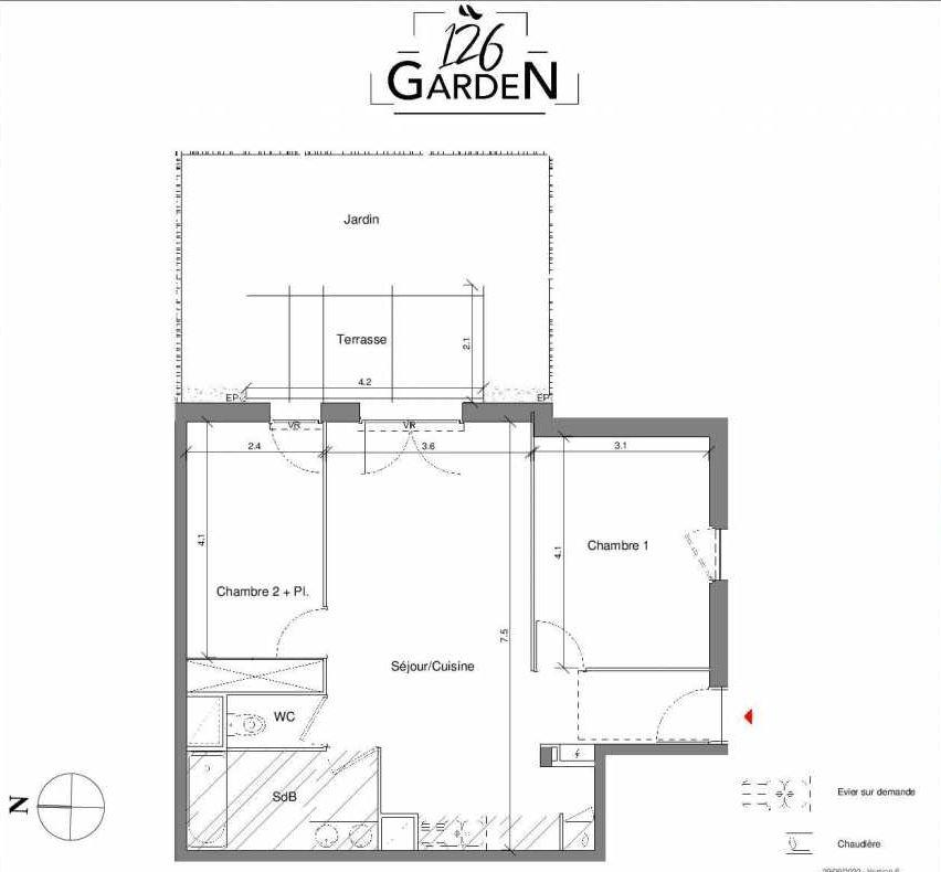Plan B01, appartement neuf type T3 au Rez de chaussée, faisant 62m² du programme neuf 126 GARDEN à Toulouse.
