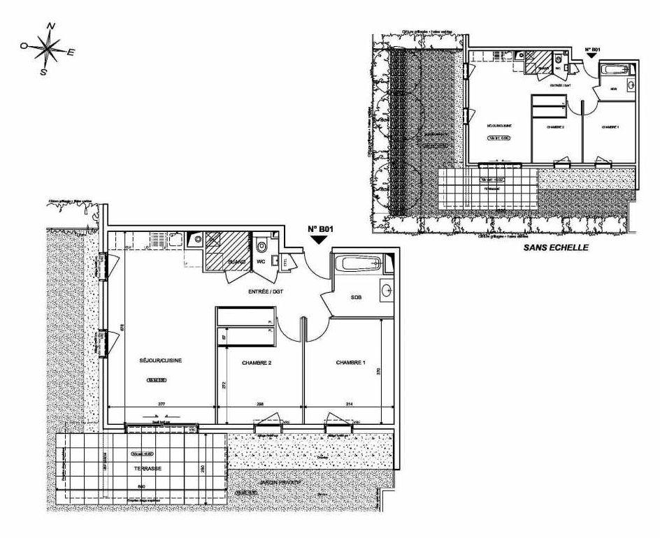 Plan B01, appartement neuf type T3 au Rez de chaussée, orienté Sud faisant 62m² du programme neuf INFINITY à Publier.