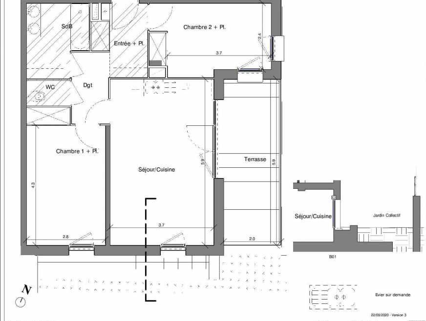 Plan B01, appartement neuf type T3 au Rez de chaussée, faisant 60m² du programme neuf Kubik Garden à Vénissieux.