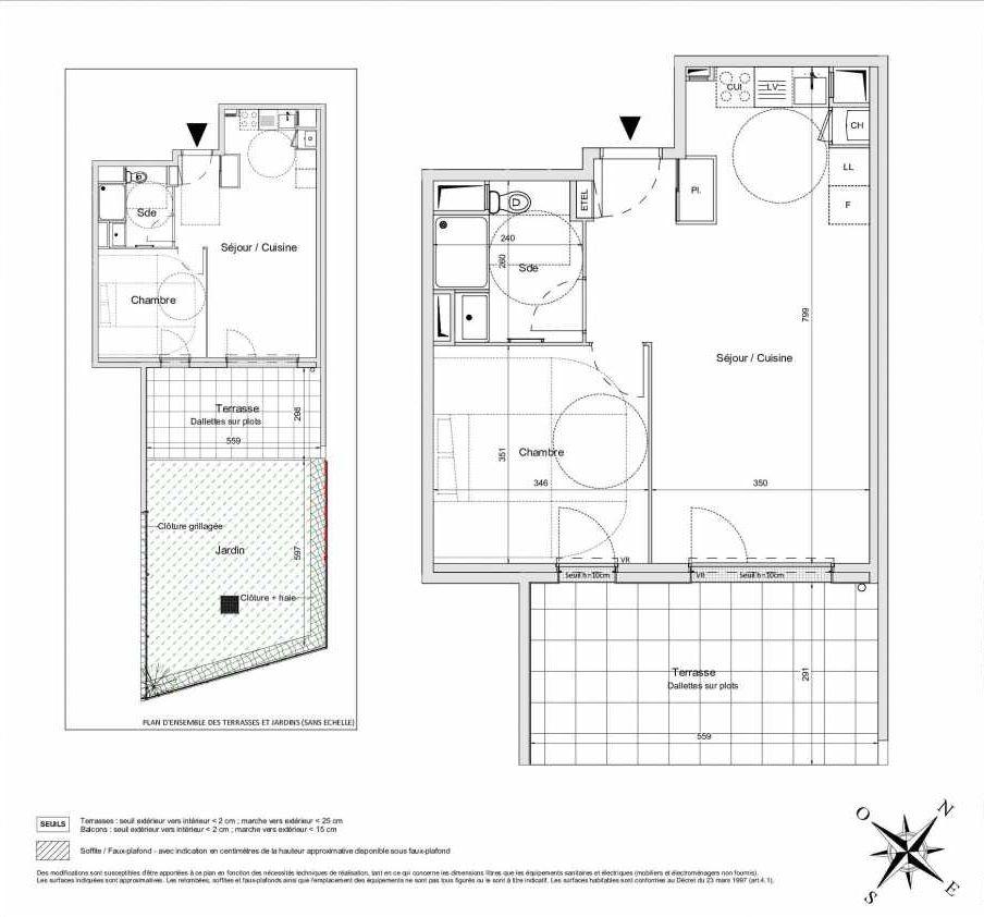 Plan B01, appartement neuf type T2 au Rez de jardin, orienté Sud faisant 47m² du programme neuf L'INATTENDU à Morangis.