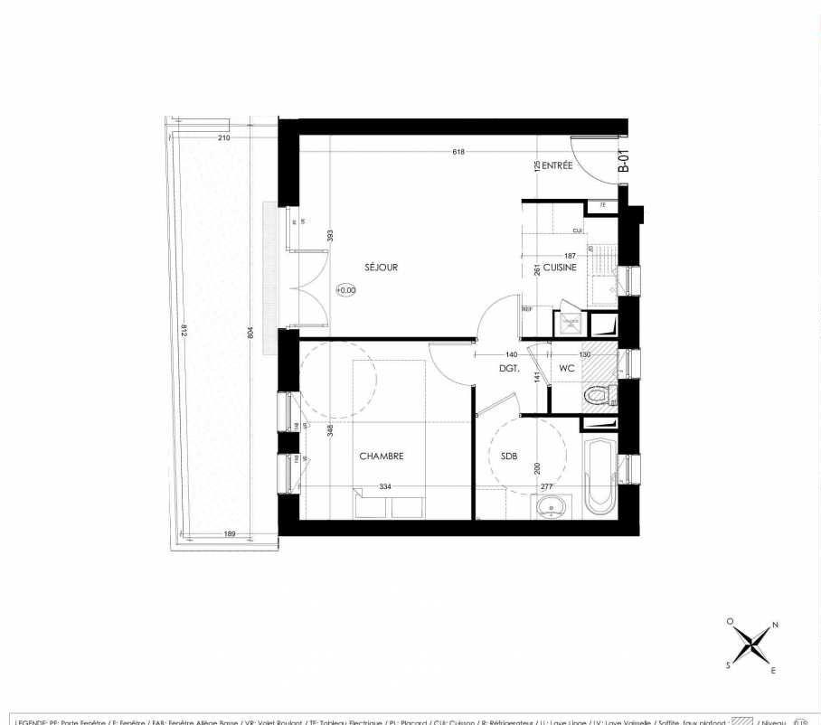 Plan B01, appartement neuf, orienté Sud faisant 45m² du programme neuf La Closeraie à Villeneuve-d'Ascq.