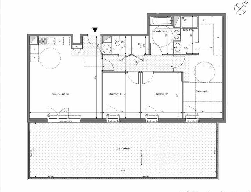 Plan B010, appartement neuf type T4 au Rez de chaussée, orienté Sud faisant 87m² du programme neuf Impulsion à Marseille.