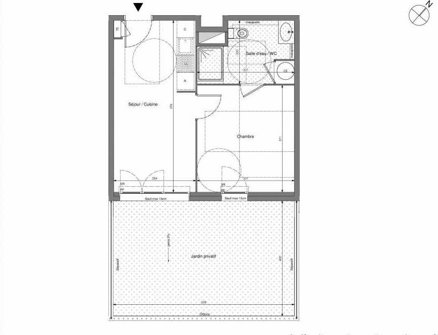 Plan B011, appartement neuf type T2 au Rez de chaussée, orienté Sud faisant 36m² du programme neuf Impulsion à Marseille.