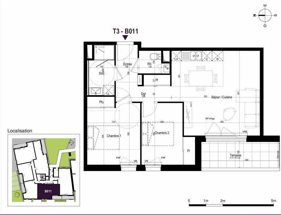 Plan B011, appartement neuf type T3 au Rez de chaussée, orienté Ouest faisant 60m² du programme neuf LA TRAVERSEE à Saint-Nazaire.