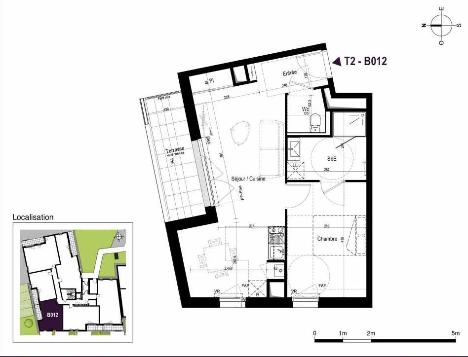 Plan B012, appartement neuf type T2 au Rez de chaussée, orienté Est faisant 45m² du programme neuf LA TRAVERSEE à Saint-Nazaire.