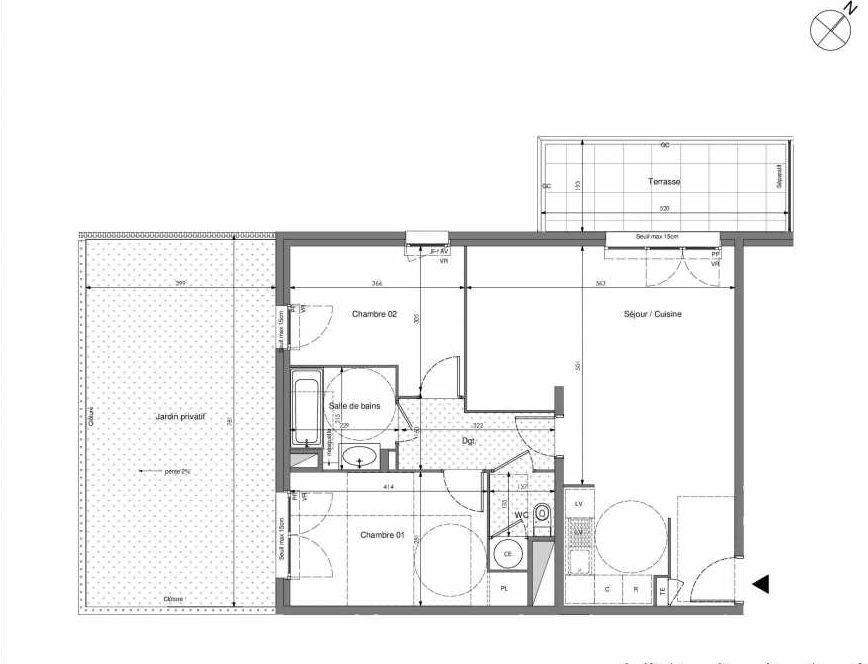 Plan B013, appartement neuf type T3 au Rez de chaussée, orienté Sud faisant 67m² du programme neuf Impulsion à Marseille.