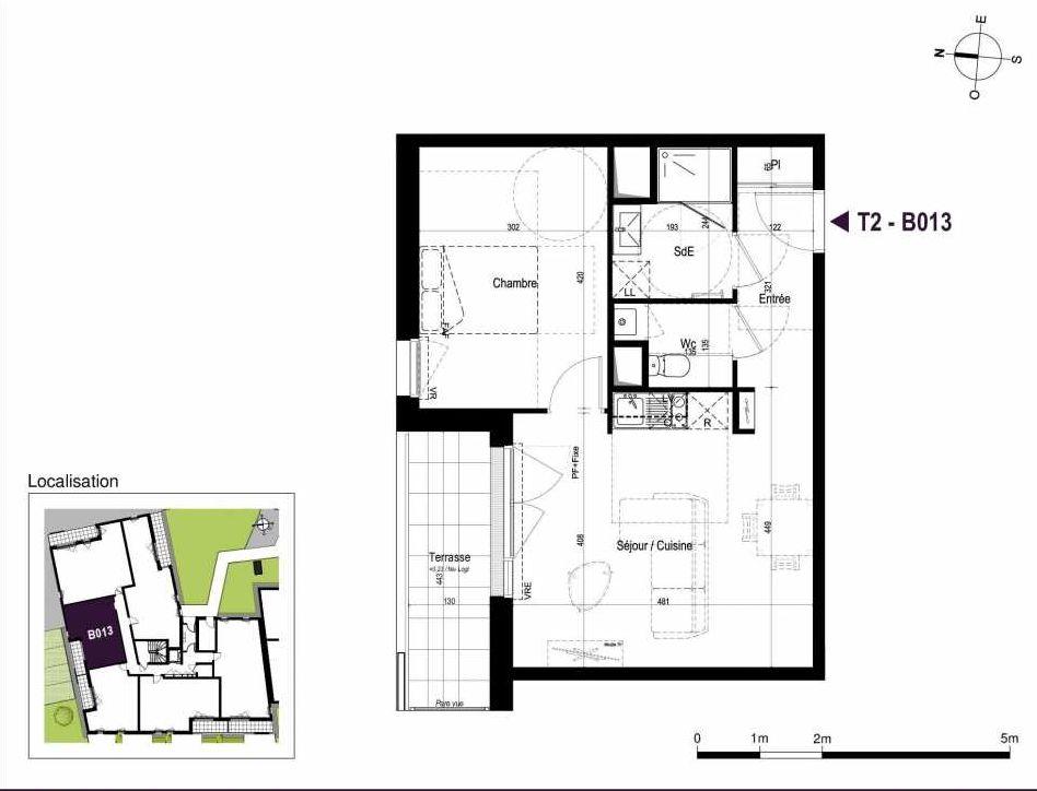 Plan B013, appartement neuf type T2 au Rez de chaussée, orienté Est faisant 44m² du programme neuf LA TRAVERSEE à Saint-Nazaire.