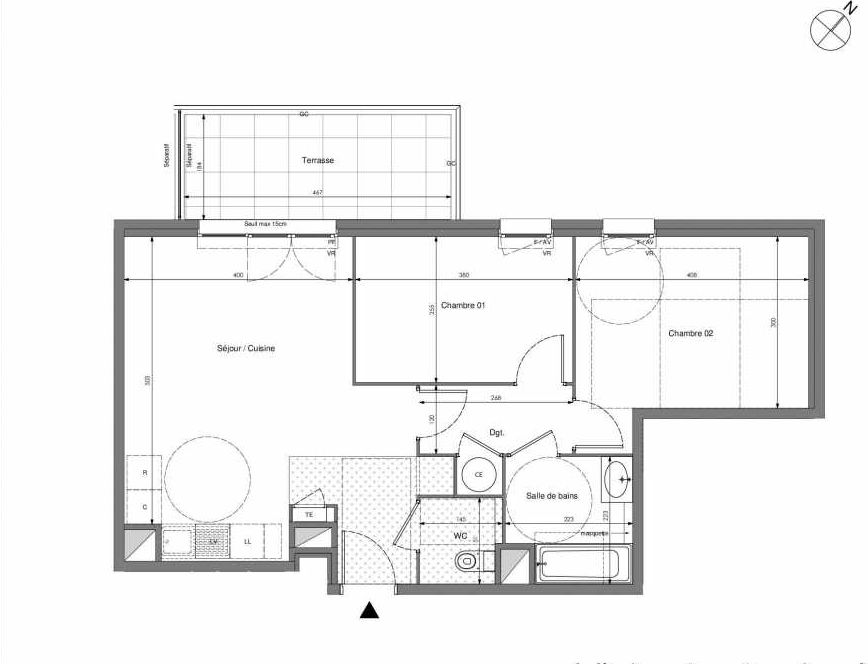 Plan B014, appartement neuf type T3 au Rez de chaussée, orienté Ouest faisant 59m² du programme neuf Impulsion à Marseille.