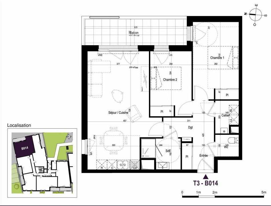 Plan B014, appartement neuf type T3 au Rez de chaussée, orienté Est faisant 68m² du programme neuf LA TRAVERSEE à Saint-Nazaire.